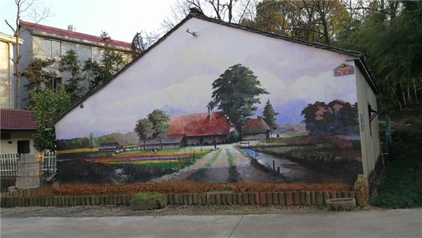 现代美学和乡村农趣相融合的大联村墙壁彩绘(记者张庶卓摄)